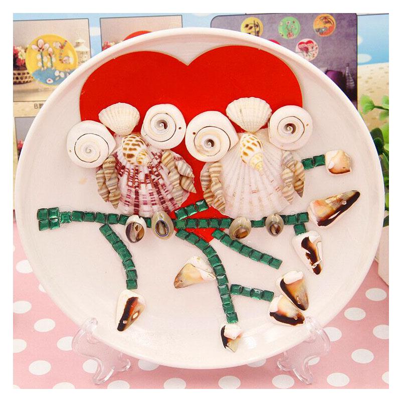 天然贝壳海螺圆盘画