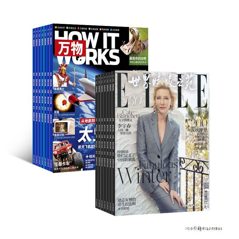 环球科学青少版  万物(1年共12期)+世界时装之苑 ELLE(1年共12期)(杂志订阅) 两刊组合订阅