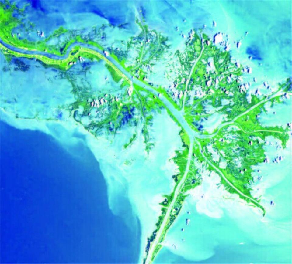 美国密西西比河入海口的三角洲是在全新世形成的,在过去5000年中,这个三角洲的沉积过程使得南路易斯安那州的海岸线向墨西哥湾内推进了24至80千米。