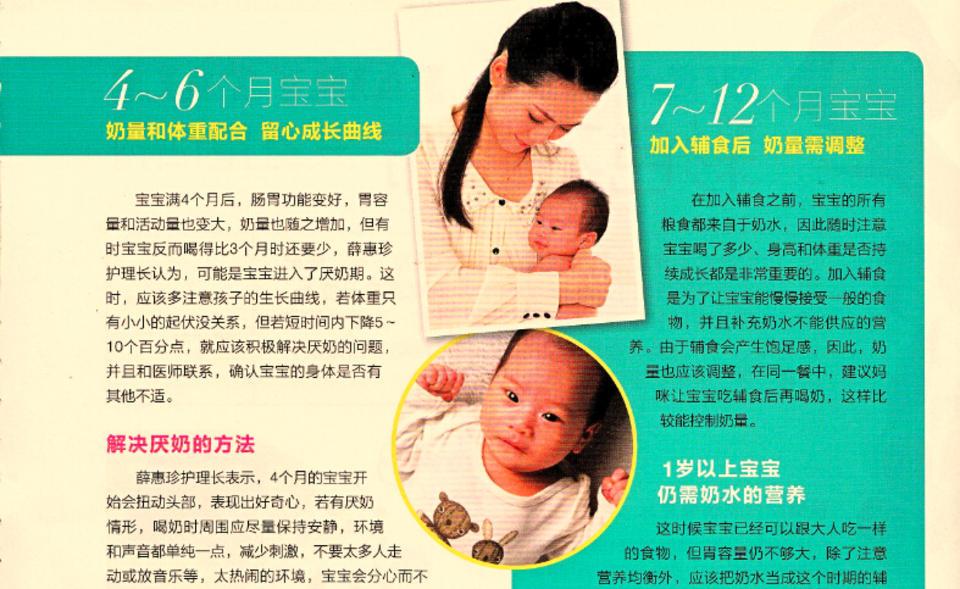 4-6个月宝宝 奶量和体重配合 留心成长曲线 7-12个月宝宝 加入辅食后 奶量需调整