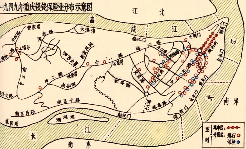 一九四九年重庆银钱保险业分布示意图