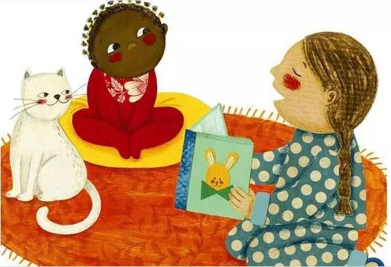 可爱呆萌兔子简笔画看书