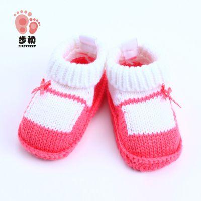 步初0-3月女宝宝手工针织婴儿鞋袜 27137