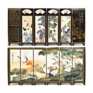 仿古漆器小屏风摆件中国特色礼品