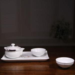一壶两二杯手绘陶瓷茶具套装配茶盘白瓷功夫茶具礼盒装【百工制器】