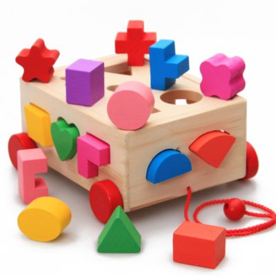 木制十五孔智力盒形状积木盒