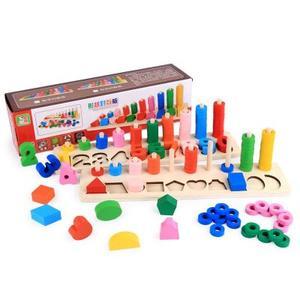 形状数字对数板木制玩具