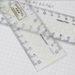 KOKUYO国誉淡彩曲奇15cm/20cm亚克力直尺透明文具刻度尺