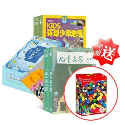 【店庆送礼】环球少年地理+科学实验 小学一年级+儿童文学(儿童版)+赠送乐高1000块小颗粒拼装玩具(1年订阅)