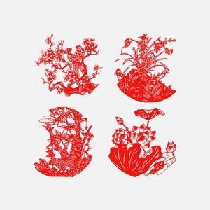 亭台轩榭纯手工剪纸(一套4个)